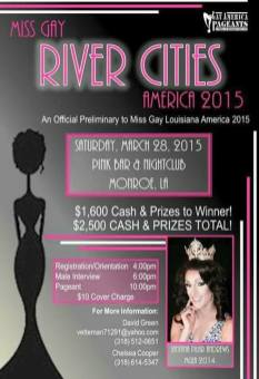 Show Ad | Miss Gay River Cities America | Pink Bar & Nightclub (Monroe, Louisiana) | 3/28/2015