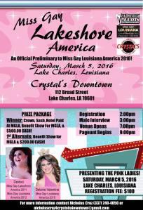 Show Ad   Miss Gay Lakeshore America   Crystal's Downtown (Lake Charles, Louisiana)   3/5/2016