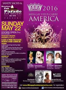 Show Ad | Miss Gay Vieux Carre America | Bourbon Pub (New Orleans, Louisiana) | 5/22/2016