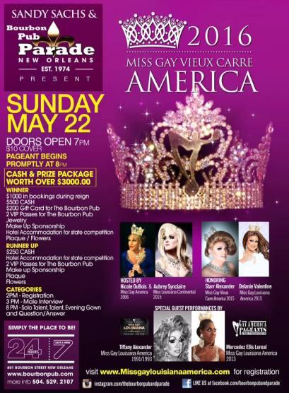 Show Ad   Miss Gay Vieux Carre America   Bourbon Pub (New Orleans, Louisiana)   5/22/2016