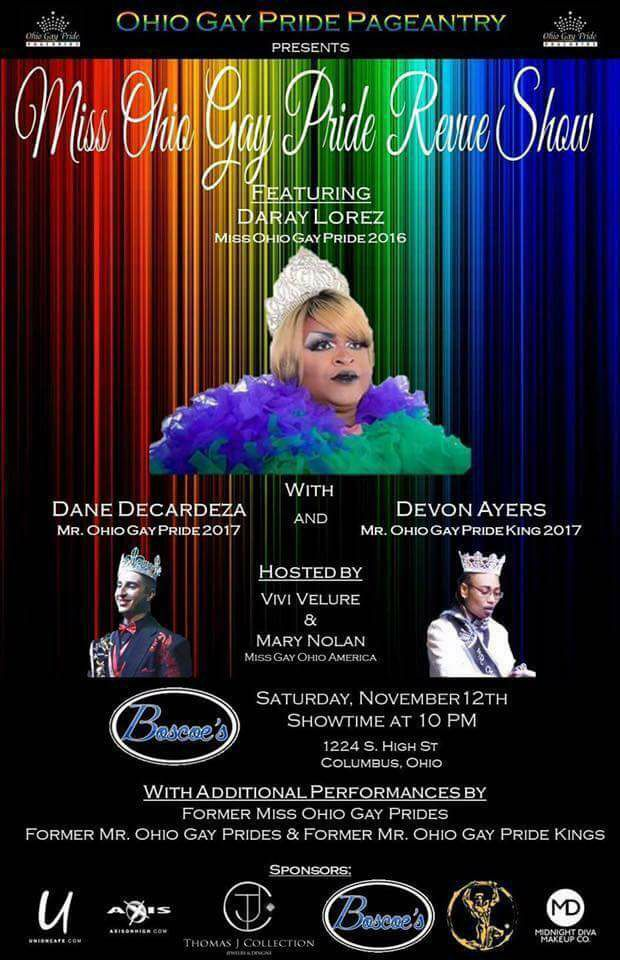 Show Ad | Miss Ohio Gay Pride Review Show | Boscoe's (Columbus, Ohio) | 11/12/2016