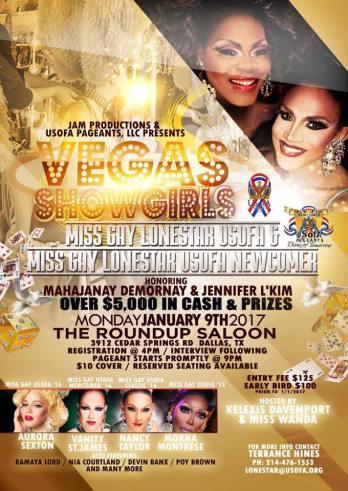 Show Ad | Miss Gay Lonestar USofA and USofA Newcomer | The Roundup Saloon (Dallas, Texas) | 1/9/2017