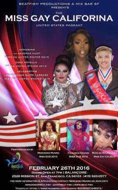 Show Ad | Mr. and Miss Gay California United States | Balancoire (San Francisco, California) | 2/26/16