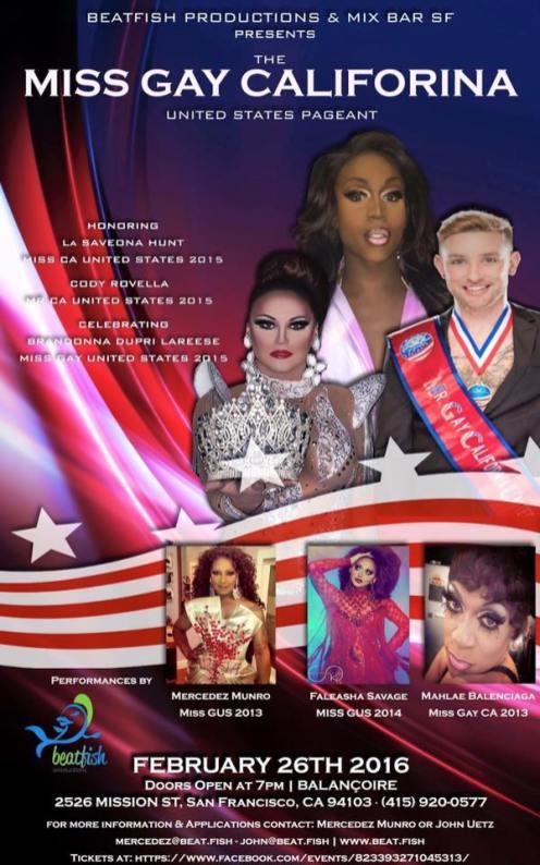 Show Ad | Mr. and Miss Gay California United States | Balancoire (San Francisco, California) | 2/26/16