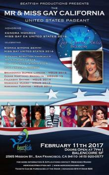 Show Ad   Mr. and Miss Gay California United States   Balencoire (San Francisco, California)   2/11/2017