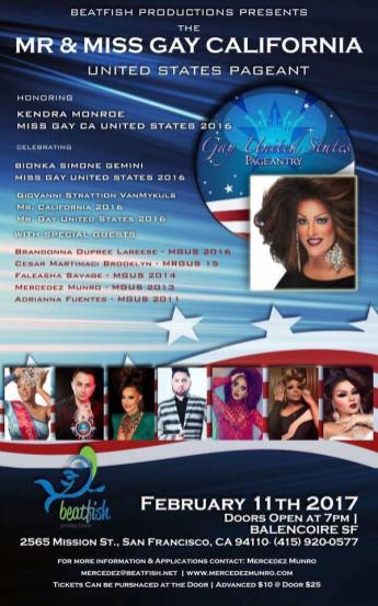 Show Ad | Mr. and Miss Gay California United States | Balencoire (San Francisco, California) | 2/11/2017