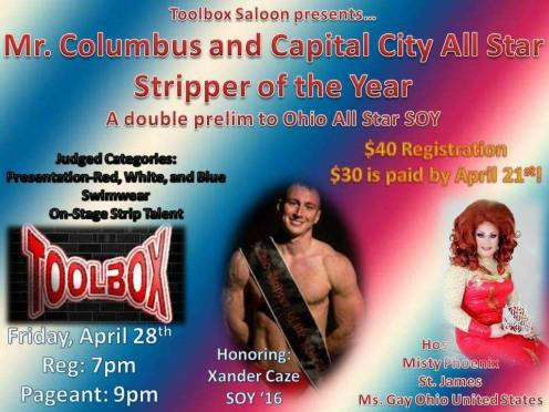 Show Ad | Mr. Columbus and Capital City Stripper of the Year | Toolbox Saloon (Columbus, Ohio) | 4/28/2017