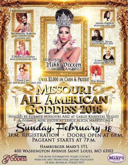 Show Ad | Missouri All American Goddess | Hamburger Mary's (St. Louis, Missouri) | 2/18/2018