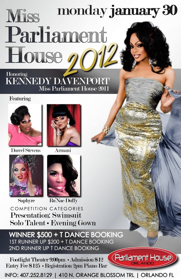 Show Ad | MIss Parliament House | Parliament House (Orlando, Florida) | 1/30/2012