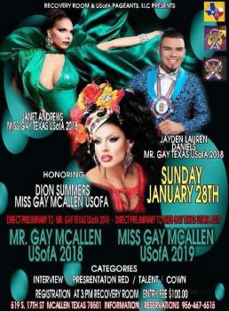 Show Ad   Miss Gay McAllen USofA and Mr. Gay McAllen USofA   Recovery Room (McAllen, Texas)   1/28/2018