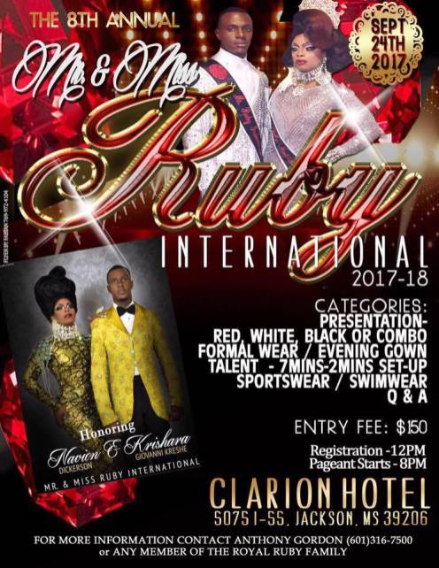 Show Ad | Mr. and Miss Ruby International | Clarion Hotel (Jackson, Mississippi) | 9/24/2017