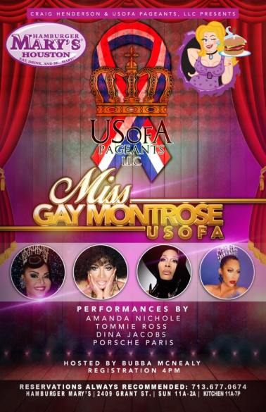 Show Ad | Miss Gay Montrose USofA | Hamburger Mary's (Houston, Texas) | 8/9/2017