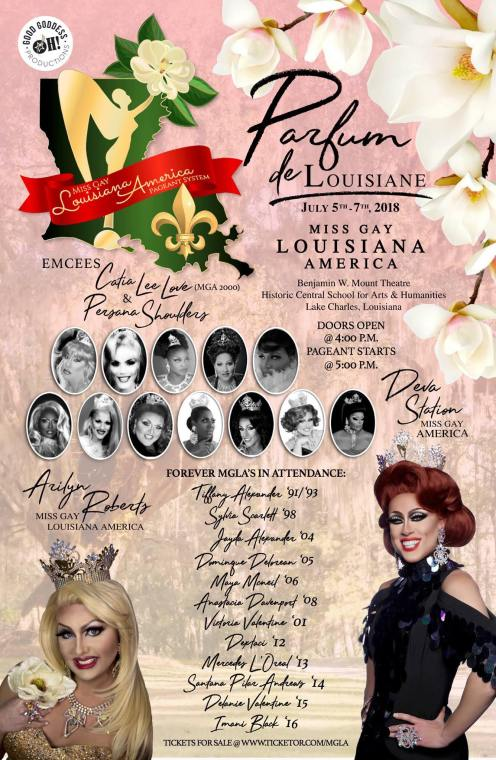 Show Ad | Miss Gay Louisiana America | Benjamin W. Mount Theatre (Lake Charles, California) | 7/5-7/7/2018