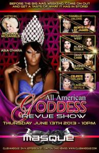 Show Ad | All American Goddess Revue Show | Masque (Dayton, Ohio) | 6/13/2013