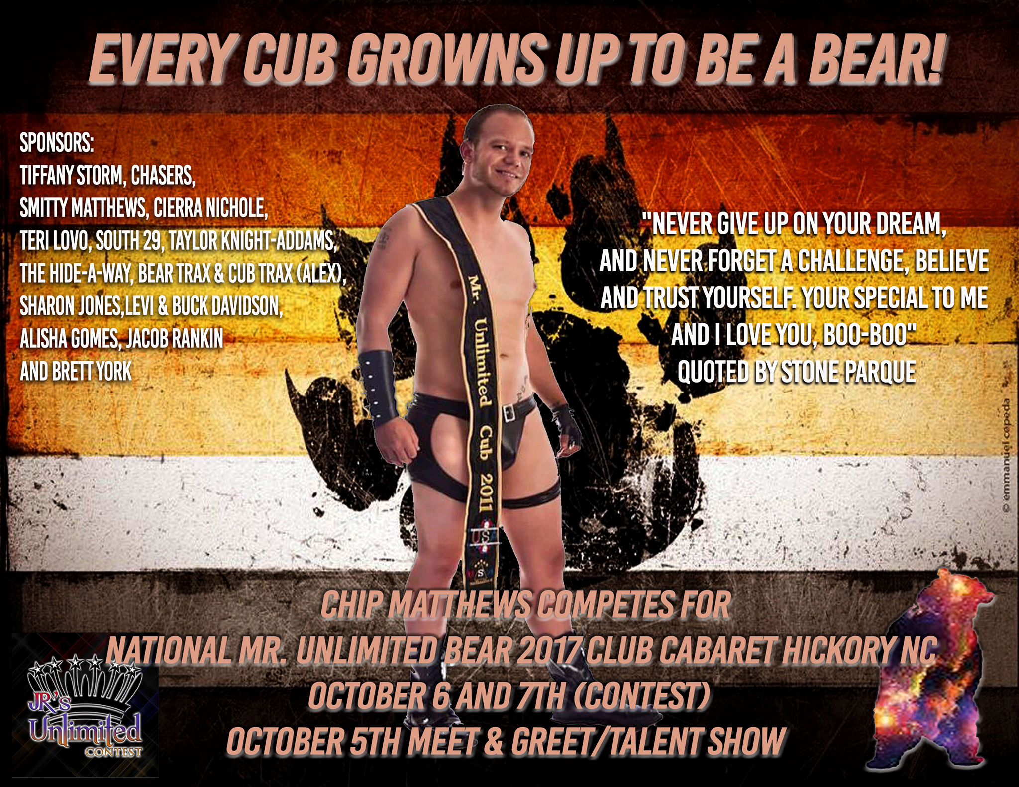 Show Ad | Chip Matthews Competes for National Mr. Unlimited Bear | Club Cabaret (Hickory, North Carolina) | 10/6-10/7/2017