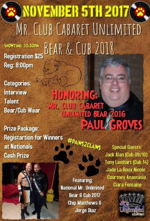 Show Ad | Mr. Club Cabaret Bear and Cub | Club Cabaret (Hickory, North Carolina) | 11/5/2017