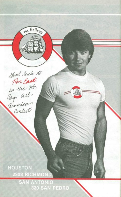 Ad featuring Ron East in support for his quest to be the first Mr. Gay All-American   circa 1983