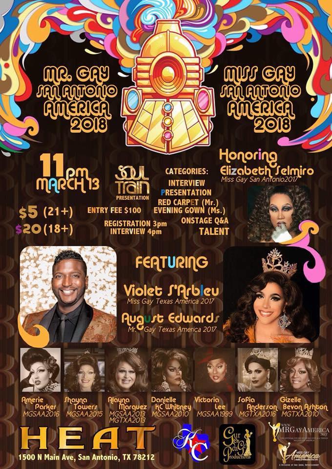Show Ad   Mr. Gay San Antonio America and Miss Gay San Antonio America   Heat (San Antonio, Texas)   3/13/2018