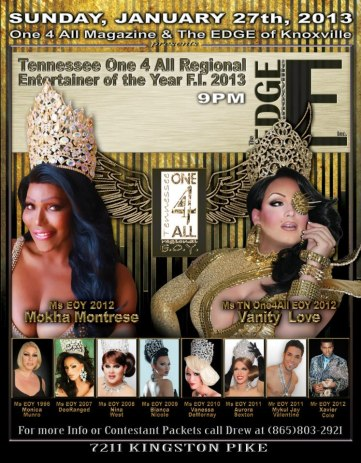 Show Ad | Tennessee One 4 All Entertainer of the Year, F.I. | The Edge (Knoxville, Tennessee) | 1/27/2013
