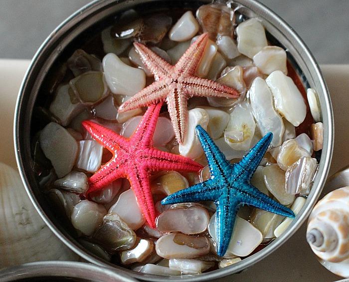 beach themed coasters with mason jar lids