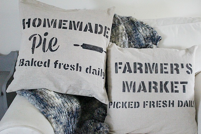 DIY Farmhouse Stenciled Pillows by Our Crafty Mom