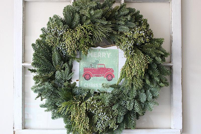 Little Red Truck Wood Gift Bag Sign