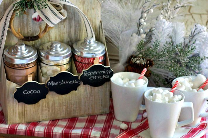 25 Farmhouse Style Hot Cocoa Bars - Centsible Chateau #farmhousestyle #hotcocoabars #hotchocolatebars