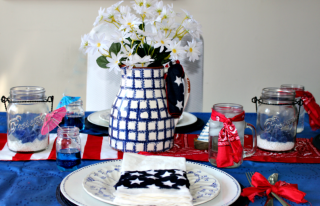 Easily Create A Fun And Inexpensive Patriotic Tablescape Our Crafty Mom #patriotictablescapebloghop #patriotictablescape #fourthofjulytablescape #redwhiteandblue