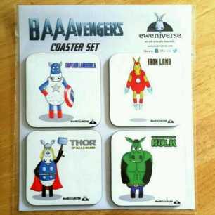 The Baaavengers coaster set
