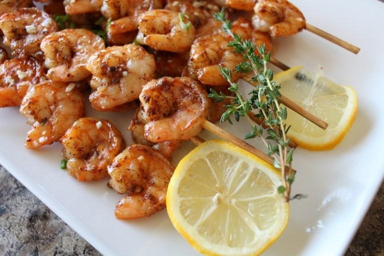 Roasted Shrimp Skewers closeup