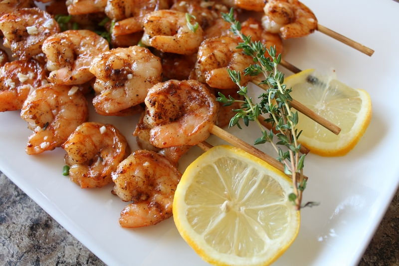 Roasted Shrimp Skewers closeup