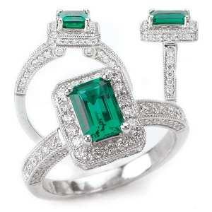 117051em Emerald Cut Chatham Emerald Engagement Ring