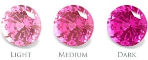 Chatham pink sapphire colors