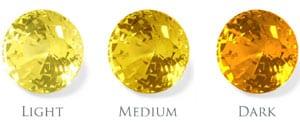 Chatham yellow sapphire hues