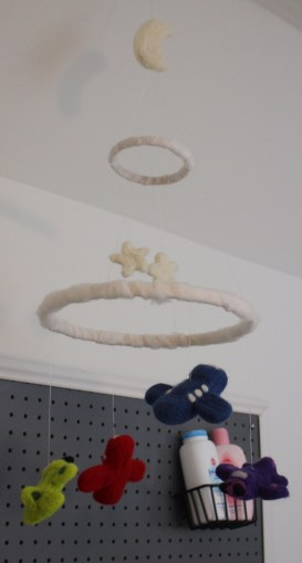 needle felt airplane mobile nursery baby room