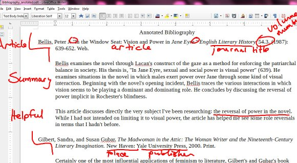 First and fourth period's marked annotated bibliography example