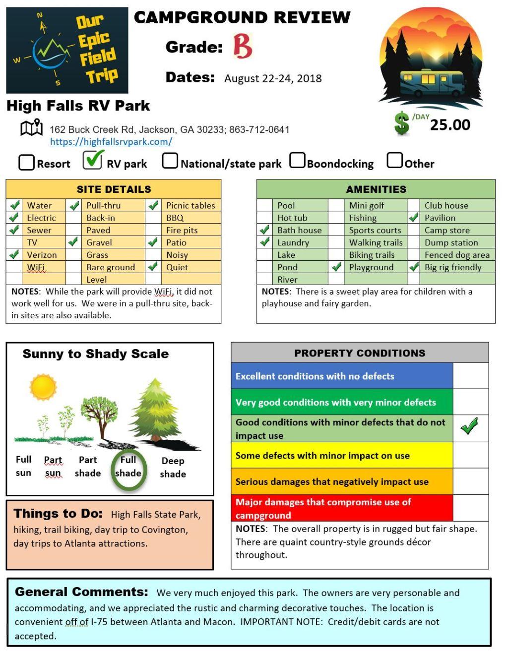 Campground Review - GA - High Falls RV Park-Jackson