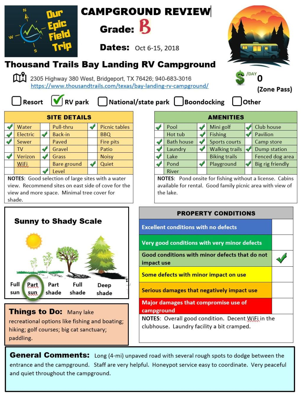 Campground Review - TX - Thousand Trails Bay Landing-Bridgeport