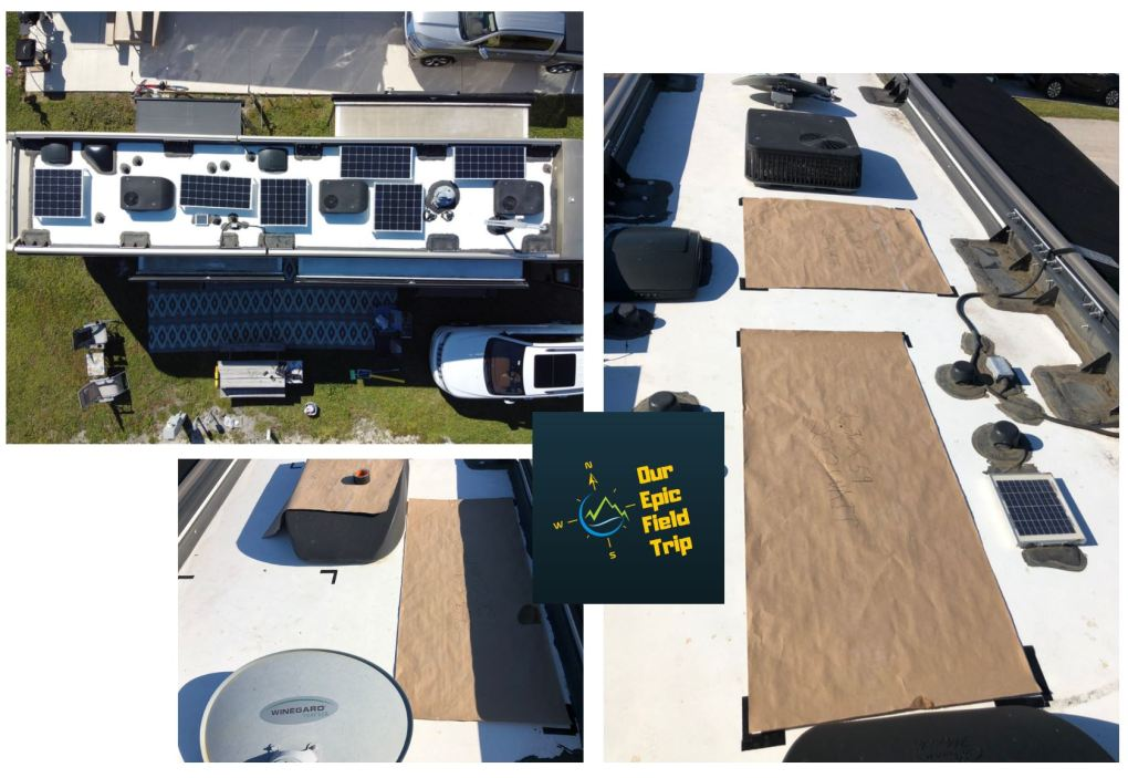 motorhome solar panel installation - roof layout