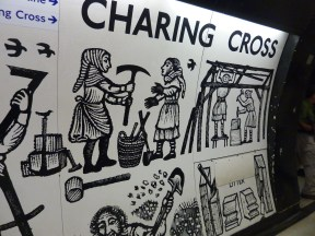 Art on wall at Charing Cross Tube Station
