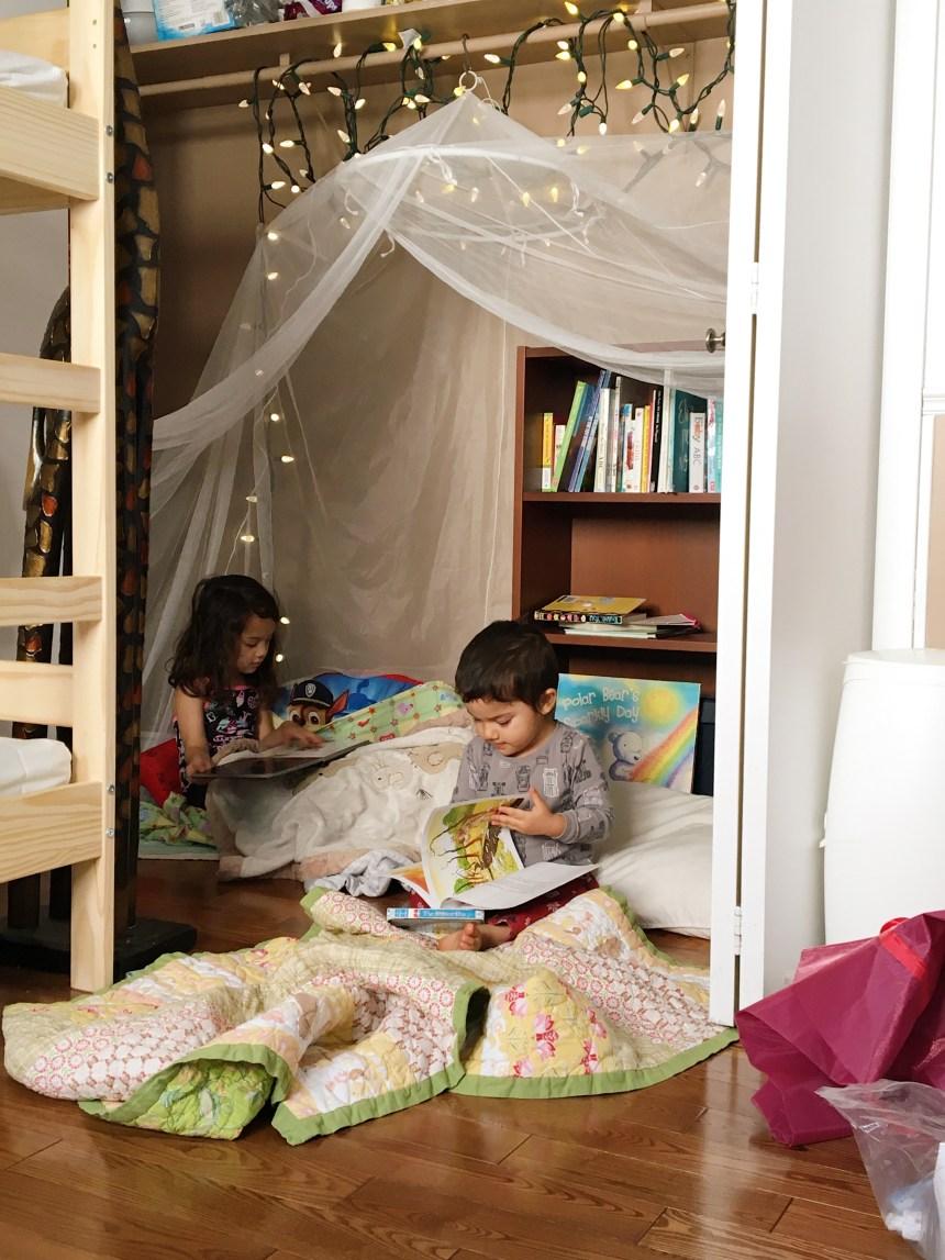 Siblings Room Sharing Reading Closet Mom Blogger Edmonton Mom (3)
