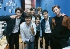 mckyunghun: A cut with world stars EXO before the fanmeeting starts!!! Though I can't hide the fact that I look like a squid, everyone was very well mannered 😊 #EXO #EXOK #fanmeeting #LOTTO #Chanyeol #Kai #Lay #Baekhyun #Xiumin #Suho #D.O. # Sehun #EXOL #Backstage (160906)