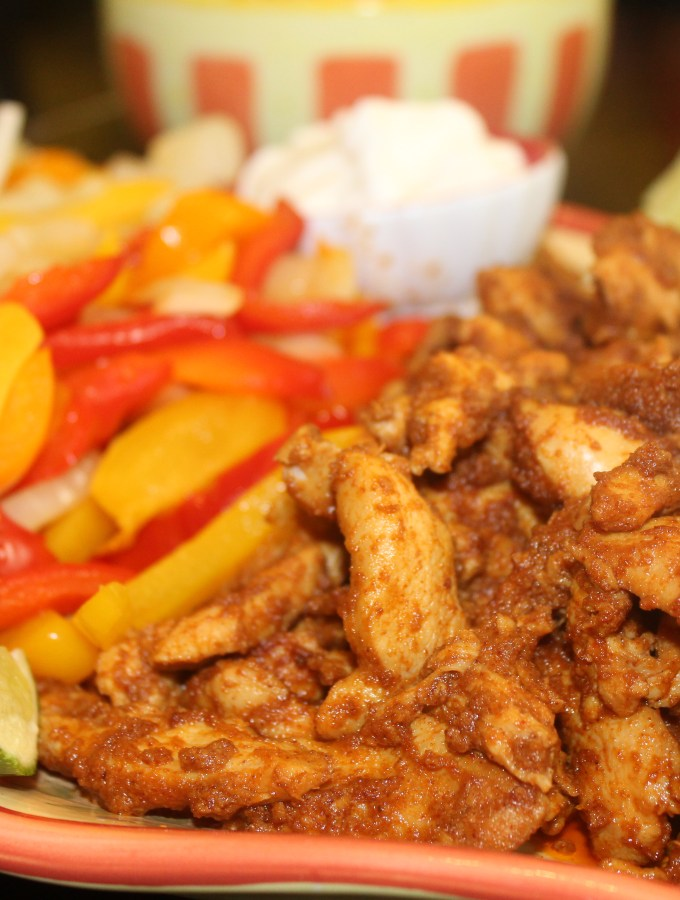 Chicken Fajita meat with peppers and sour cream