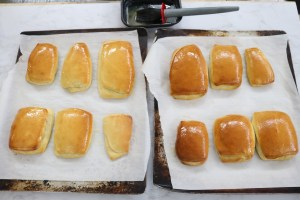 Fresh Yeasty Rolls basted with honey butter