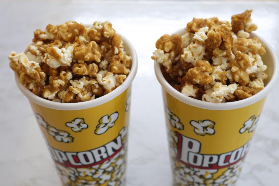 Caramel popcorn in popcorn cups
