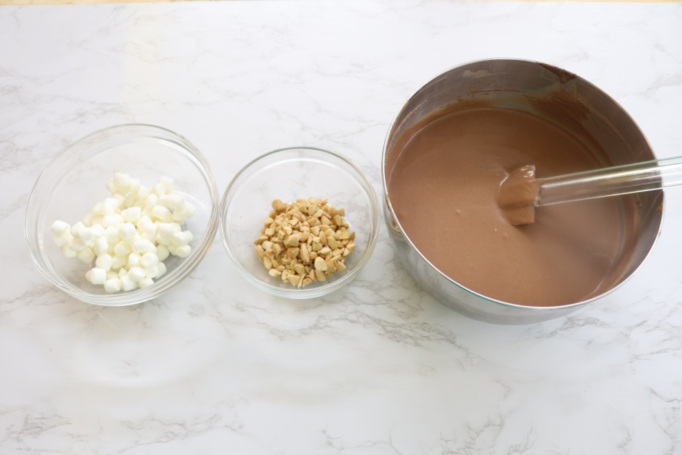 Chocolate ice crem mixture, marshmallows, and almonds