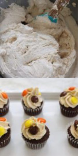 Peanut Butter Buttercream Icing with mini chocolate cupcakes with Reese's Pieces