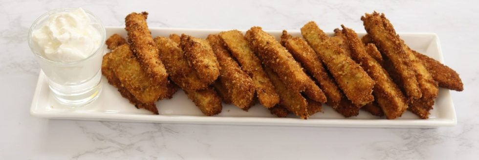 white tray with fried eggplant strips