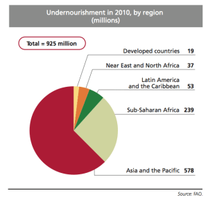 Undernourished in 2010 by Region according to FAO
