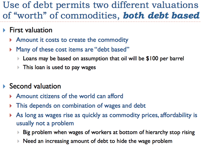 Slide 24. Use of debt permits two different valuations of worth of commodities.